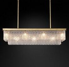 American Crystal Chandelier Creative Villa Club Living Room Bedroom Simple Postmodern Rectangular Glass
