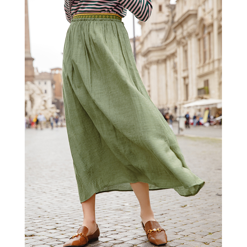 INMAN Spring Spring Autumn Bottom Printing Elastic Empire Waist A Line Solid Color Bohemian A Line Skirt