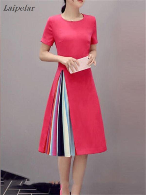 2018 Hot Plus Size Summer Dress vestidos Sweet Elegant Knitted Dress Women Dresses O Neck Womens Sexy Dress A Line Drop Ship in Dresses from Women 39 s Clothing