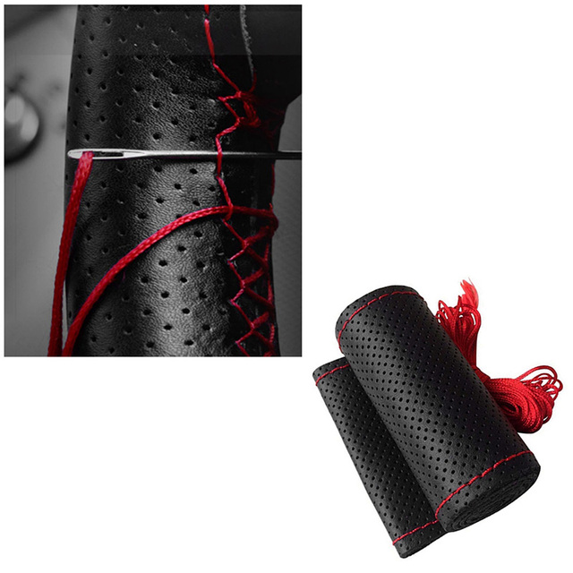 38cm DIY Car Leather Steering Wheel Covers Braid on the Steering-wheel Hub With Needle and Thread Auto Wheel Protector