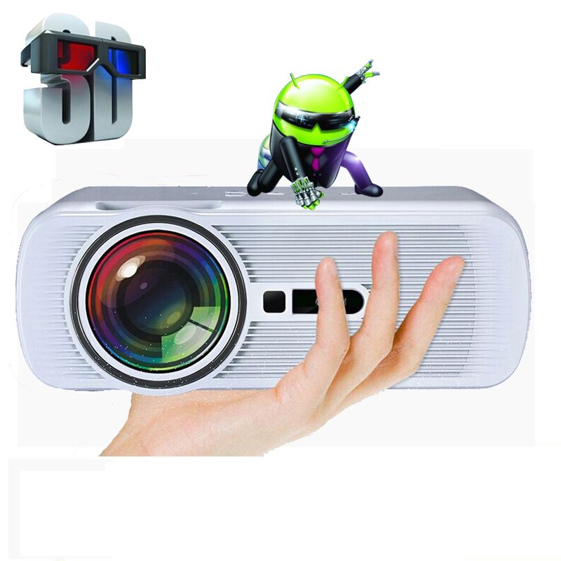WZATCO 1800Lumens Android 6 0 Wifi Multifunction Professional LED home cinema video beamer LCD 3D TV