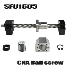SFU1605 set:SFU1605 rolled ball screw C7 with end machined + 1605 ball nut + nut housing+BK/BF12 end support + coupler RM1605 ballscrew set sfu rm 3205 400mm with end machined 3205 ballnut bk bf25 end support nut housing coupling for cnc parts