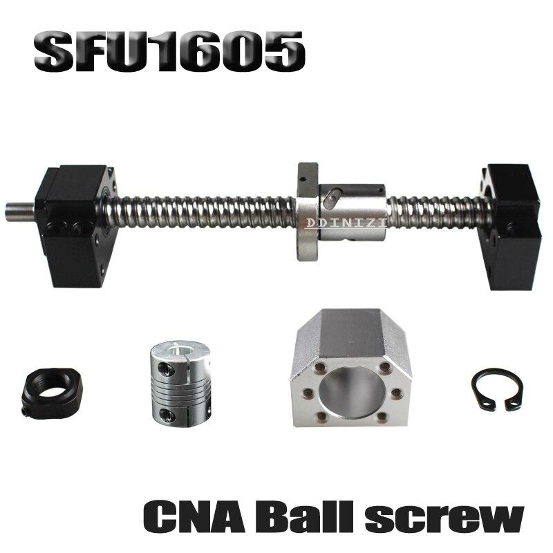 SFU1605 set SFU1605 vis à billes roulées C7 avec extrémité usinée + 1605 écrou à billes + boîtier d'écrou + support d'extrémité BK/BF12 + coupleur RM1605