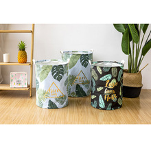 New Nordic Style Leaves Pattern Round Laundry Basket Dirty Clothes Toys Storage Bucket Folding Waterproof 35x45cm