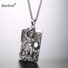 Buy st michael and get free shipping on aliexpress st michael the archangel prayer pendant necklace stainless steelgold color medal necklace blessing gift aloadofball Gallery