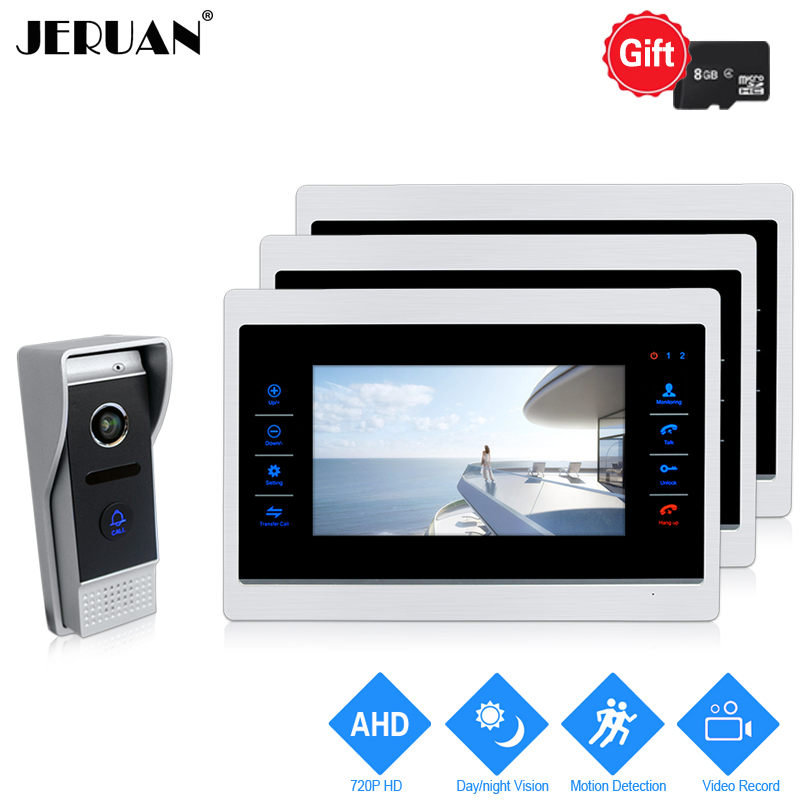 JERUAN 720P AHD HD Motion Detection 7 INCH Video Doorbell Intercom System 3 Record Monitor +1.0MP HD 110 degree COMS Camera 1V3