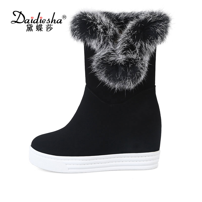 Daidiesha 2017  Size 34-43 Ladies High Heels Wedges Mid Calf Snow Boots Women Round Toe Shoes Women Thick Fur Winter Warm Boots double buckle cross straps mid calf boots