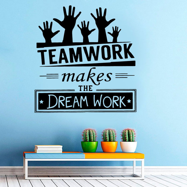 Teamwork makes the dream work creative quotes decal office wall stickers vinyl company wall decoration business