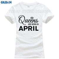 TEE4U T Shirt Summer Tops Tees Women S Queens Are Born In April Birthday Gift Crew