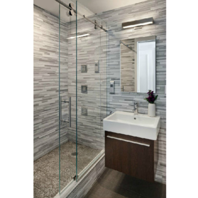 6 6ft Chrome Polished Frameless Sliding Glass Shower Door