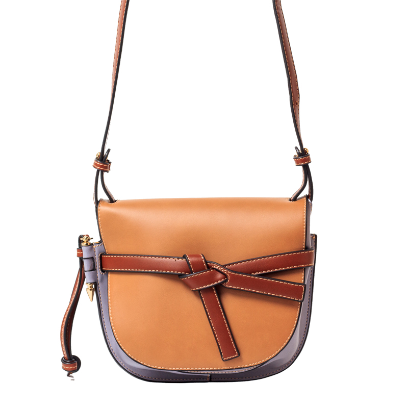 2019 New Bow Retro Color Matching Semi-circular Leather Handbags Female Shoulder Messenger Bags2019 New Bow Retro Color Matching Semi-circular Leather Handbags Female Shoulder Messenger Bags