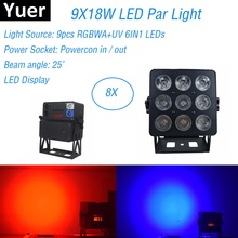 8Pcs Aluminum Alloy LED Flat Par 9X18W Lighting American Dj Par Cans RGBWA-UV 6IN1 DMX 512 Light Christmas Projector Light Music wireless dmx battery power rgbwy uv 6in1 led par can light with wifi