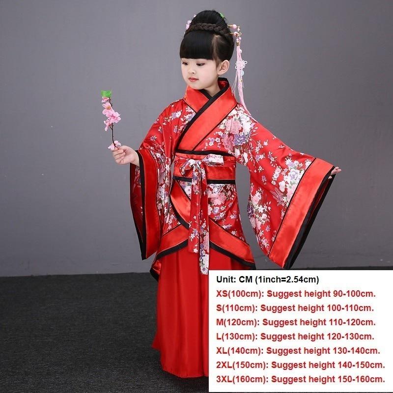 Традиционные китайские танцевальные костюмы для девочек, древняя опера династии Тан, Хан мин ханьфу, платье, детская одежда, народные танцевальные Детские костюмы - Цвет: red