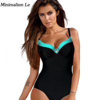 Minimalism Le Plus Size Patchwork One Piece Swimsuit 2017 Sexy Bandage Monokini Women Swimwear Maillot Bathing