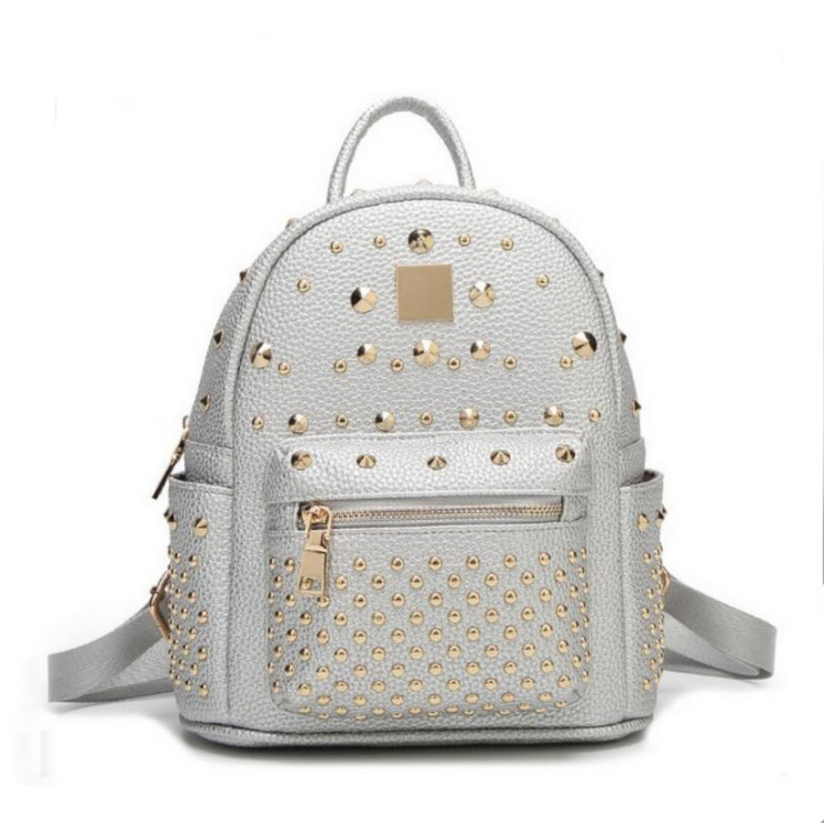 100 Genuine leather Women Backpack Designer Female Backpacks Students School Bags Fashion Genuine Leather Travel Rivet