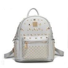 100% натуральная кожа женщины рюкзак дизайнерские женские рюкзаки школьников сумки модные натуральная кожа путешествия заклепки рюкзак