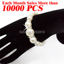 hot Classic trendy style white perfectly round beads rope strand pearl bracelet, bangle for girl women 2019 fine quality(China)