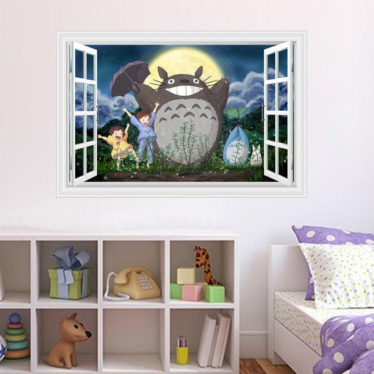 10 pcs/Pack bricolage mon voisin Totoro 3D fenêtre décalcomanie Sticker Mural décalcomanie décor à la maison Art Mural 430