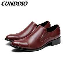 CUNDDIO British Men shoes fashion pointed genuine leather Men's shoes derby flats shoes
