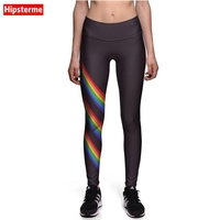 Hipsterme Leggings New Brand Fashion  black stripes rainbow Print Pants High Waist Jeggings Workout Clothes For Women