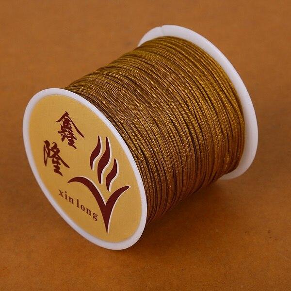 50 метров 0,8 мм нейлоновый шнур, китайский Узелок, шнур макраме, браслет, плетеный шнур, бисероплетение, сделай сам, ювелирный шнур, нить - Цвет: Dark Yellow