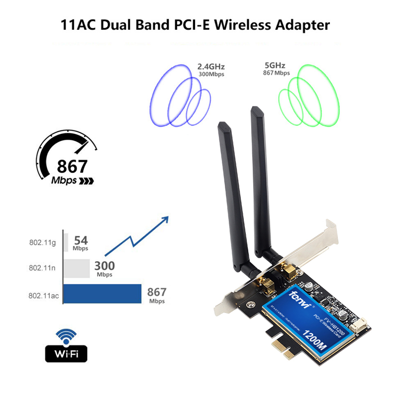 Image 3 - Desktop Dual Band 802.11ac Broadcom BCM94360 Wireless AC WiFi Bluetooth 4.0 PCI E Adapter For Mac/Hackintosh/Windows-in Network Cards from Computer & Office