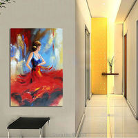 Flying Skirt Modern Artwork Abstract Dancing People Oil Paintings on Canvas Wall Art for Home Decoration Wall Deco Unframed
