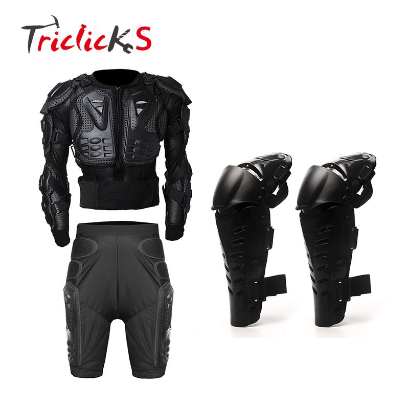 Triclicks noir moto armure corporelle veste de protection + engrenages pantalons courts protecteur de hanche + protecteur moto genouillère Kits costumes