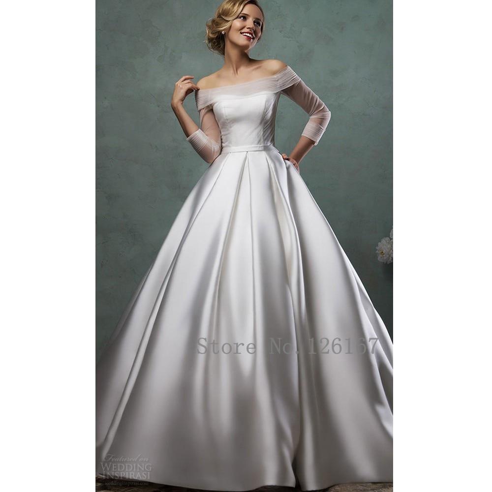 buy off shoulder boat neck wedding dress long sleeves court train wedding. Black Bedroom Furniture Sets. Home Design Ideas