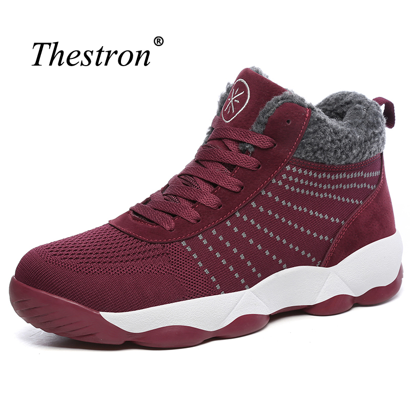 Thestron Sport Shoes Couples Brand Gray RedSneakers For Boys Fur Inside Women Athletic Shoe Good Quality Ladies Sneaker