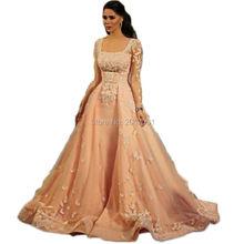 Elegante Arabischen Langarm Prinzessin Abendkleider 2016 Neue Platz Kragen Appliques Formale Abendkleider Vestidos De Fiesta