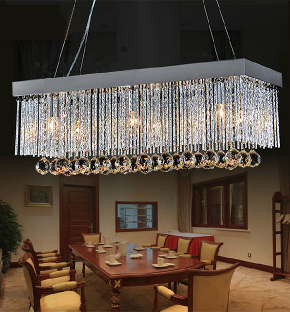 Restaurant Aluminum Kitchen Light Hanging Crystal Lamp For Dining Room Silver Luminaria Led Lights Bedroom Cafe