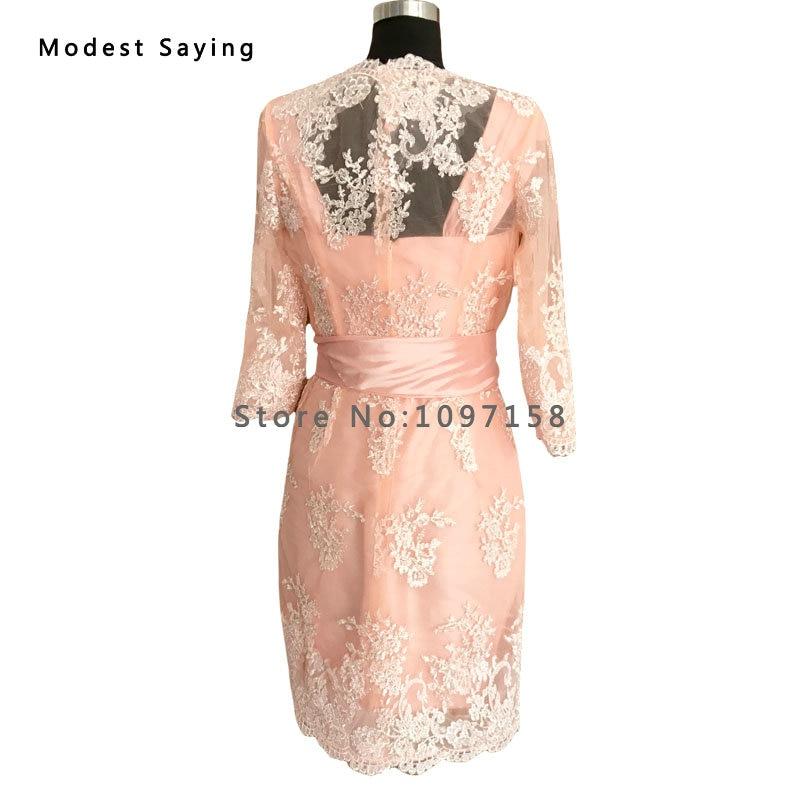 Elegantna Nude Pink Taffeta Majka nevjeste Čipkaste haljine 2017 s - Vjenčanje večernje haljine - Foto 4