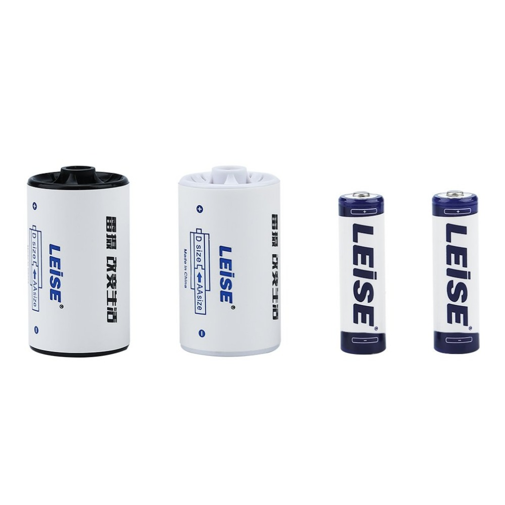 LEISE-806 Battery Converter Set Including 1 D Size Battery Converter+2pcs AA Ni MH Rechargeable Batteries 2700mAh
