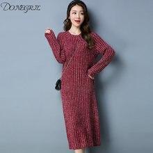 708edfc617 Alta calidad bodycon rayas mujeres Invierno Caliente moda tops manga larga  vestidos negro ceniza púrpura suéter