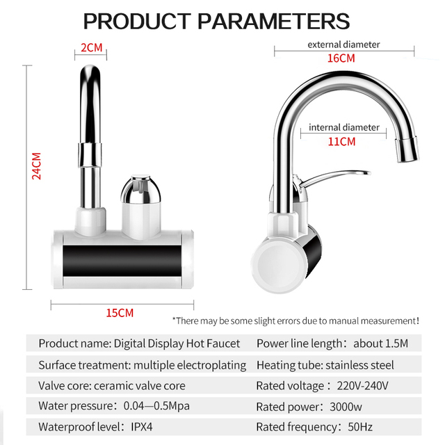 TINTON LIFE Instant Tankless Electric Water Heater Faucet Led Temperture Display Electric Water Heaters
