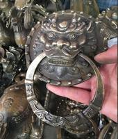 Livraison Gratuite grand Heurtoir Lion tête bronze statue