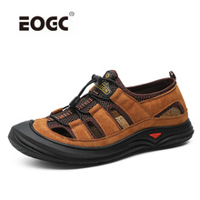 High Quality Genuine Leather Men Sandals Beach Summer Shoes Plus Size Lightweight Comfort