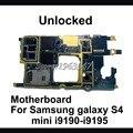 Abierto original para samsung galaxy s4 mini i9195 placa base, 100% placa base lógica mainboard de trabajo con software