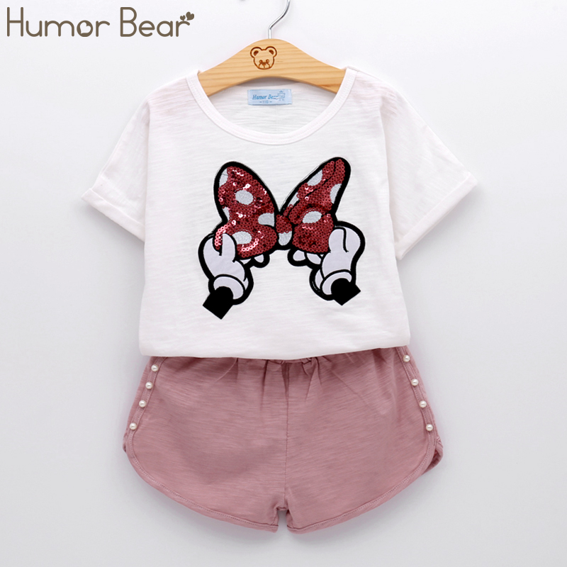 Humor Bear Baby Girls Clothes Kids Set Fashion Bow Short Sleeve T-Shirt +Pant Baby Girls Clothing Set Kids Cartoon Clothes Set