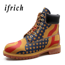 New Luxury Men Boots Yellow Black Work Boot Male High Top Genuine Leathe Mens Motorcycle Rubber Sole Non-Slip Casual Shoes