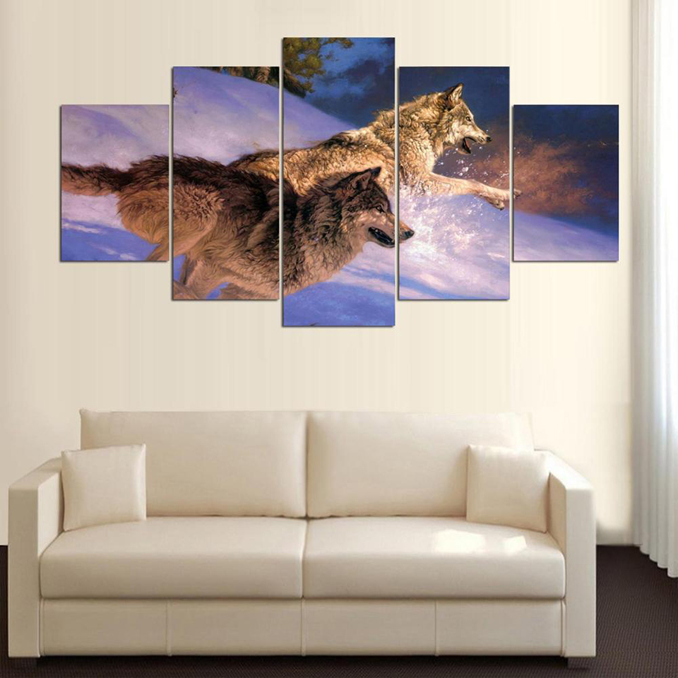 Modular Printed Cuadros Decoration Pictures 5 Panel Animal Wolves Poster Canvas Painting Living Room Wall Art Framework Artwork in Painting Calligraphy from Home Garden