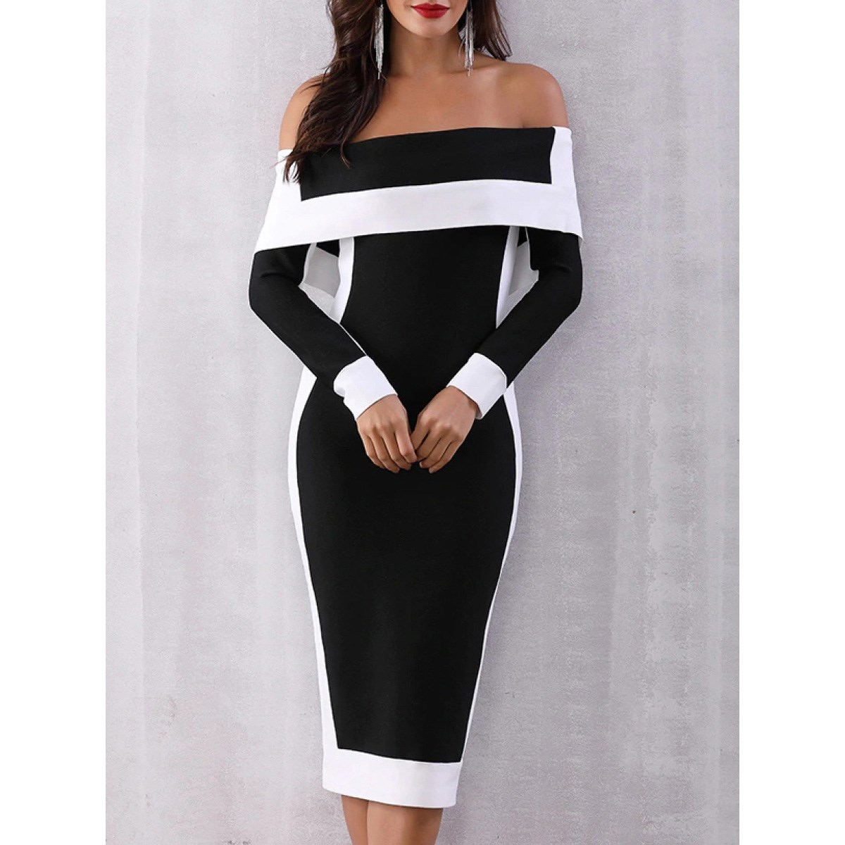 2019 Sexy Backless Party Dress Women Black Bodycon Dress Women Clothes Plus Size 5Xl Long Sleeve Office Midi Dress in Dresses from Women 39 s Clothing
