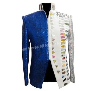 Mens Blazer Slim Fit Jacket Deluxe Men's Sequin Jacket  White and Blue Stage Jackets Men's Sequin Jacket Costume Veste Homme