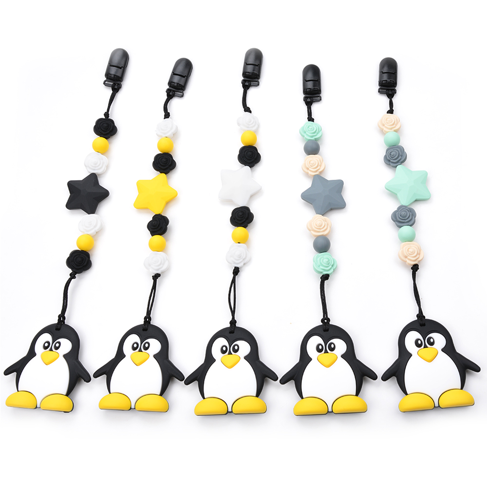 Silicone Toy Penguin BPA Free Nursing Soft Short Chain Pendant Necklace Flower Beads Carrier Baby Safety Holder Accessory