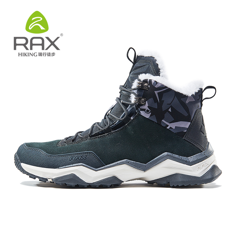 RAX Men's Winter Boots Suede Leather Sneakers Hairy Outdoor Warm Durable Running Shoes Sneakers women Sport Shoes 64 5J378