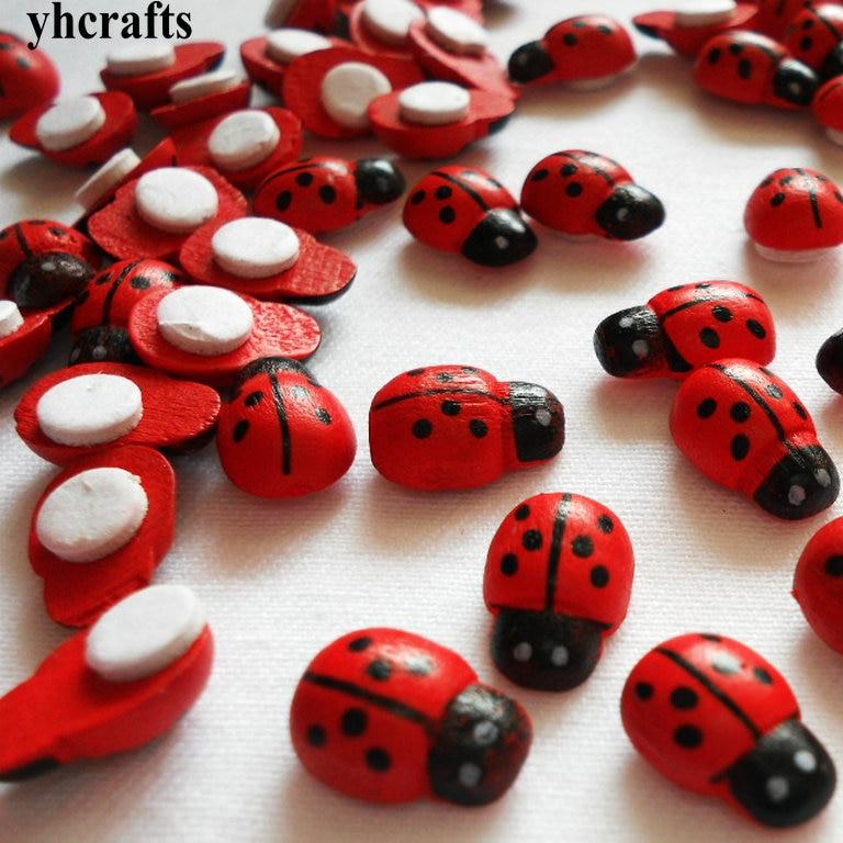1000PCS/LOT,Mini Wood Ladybug Stickers 3D Stickers Spring
