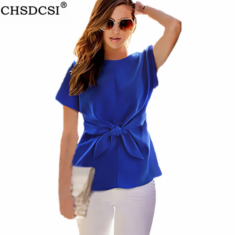 CHSDCSI Bowknot Blouses Rose Blue Office Tops Womens Blusas Chiffon Blouse O-neck Short Sleeve Casual White Plus Size Shirts
