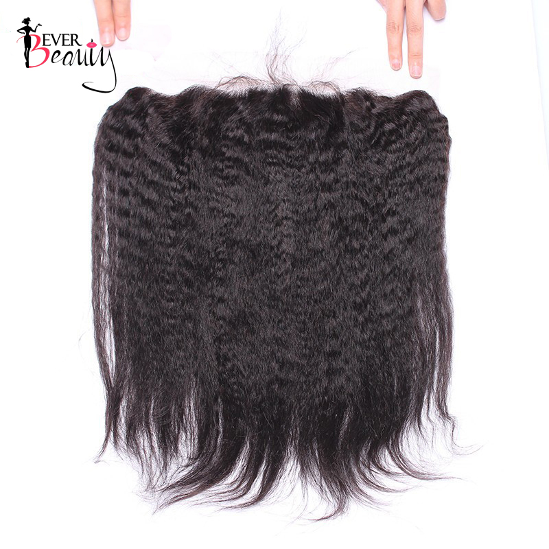 Ever Beauty Lace Frontal Closure 13x4 Free Part Pre-plucked Brazilian Kinky Straight Non-remy Human Hair