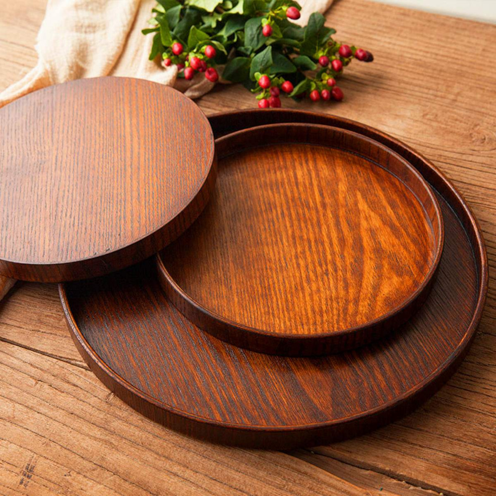 Round Wooden Plate Natural Wood Serving Tray Tea Food Server Dishes Platter